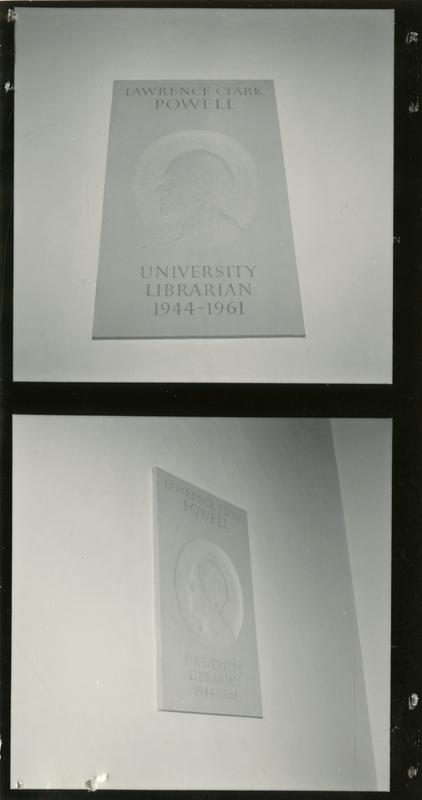 Plaque with etched portrait of University Librarian, Lawrence Clark Powell