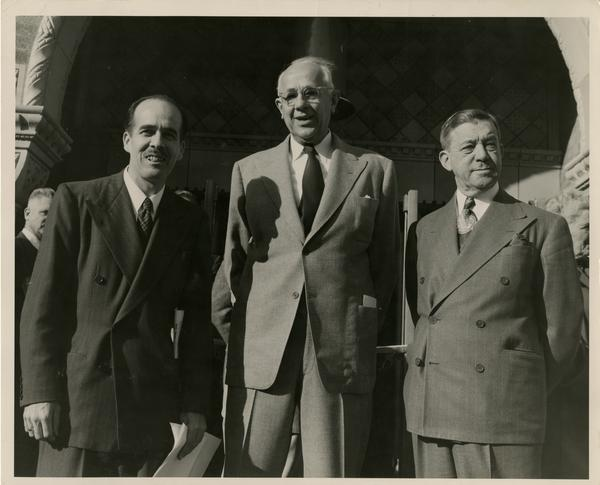 Powell, Dykstra, and Dickson at dedication ceremony of Powell Library east wing