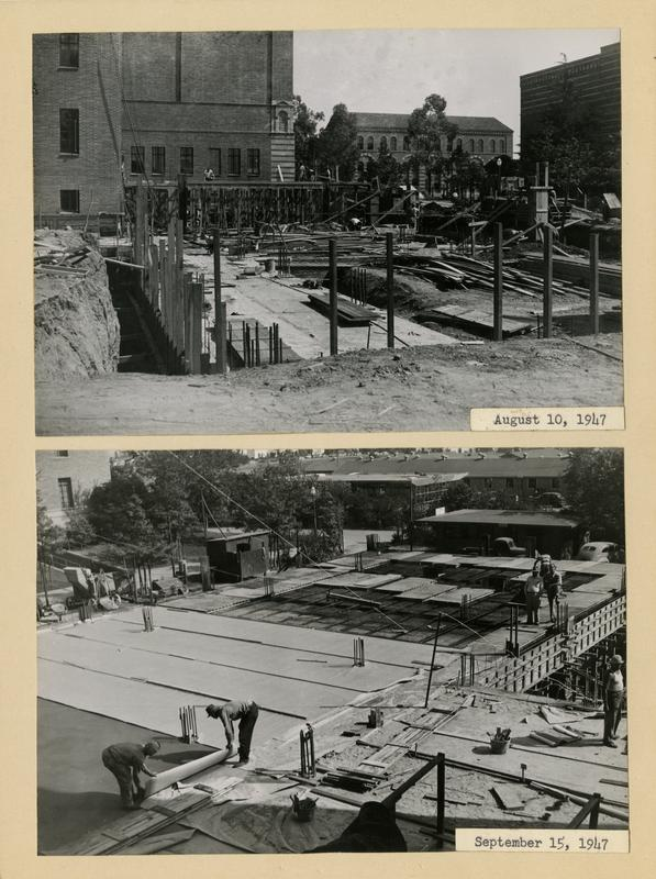 Two views of Powell Library east wing during construction, ca. August/September 1947