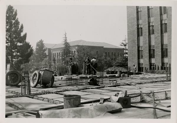 Powell Library east wing during construction, September 9, 1947