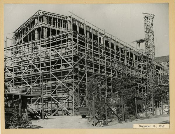 Powell Library east wing during construction, December 24, 1947