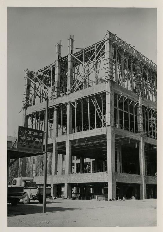 Powell Library east wing during construction, November 7, 1947