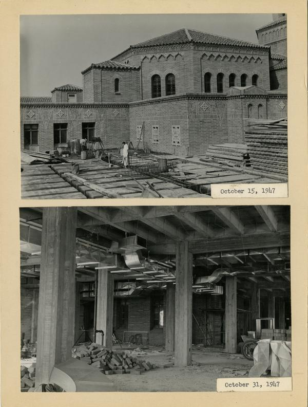 Two views of Powell Library east wing during construction, ca. October 1947