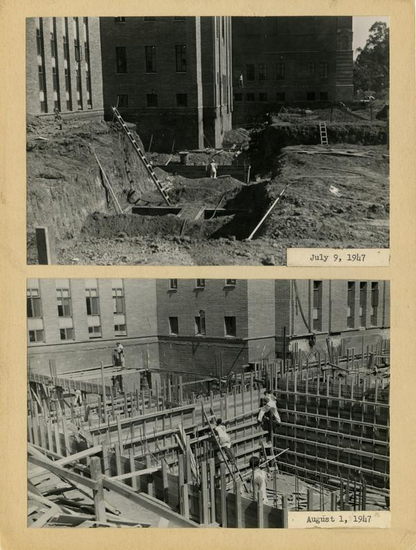 Two views of Powell Library east wing during construction, ca. July/August 1947