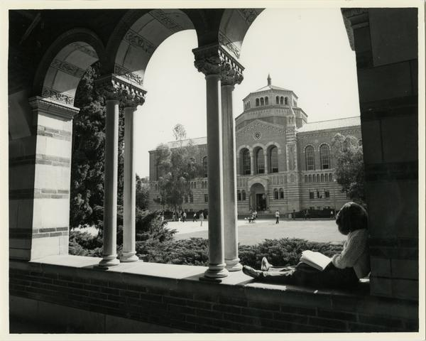 View of Powell Library through Royce Hall arches, ca. 1985