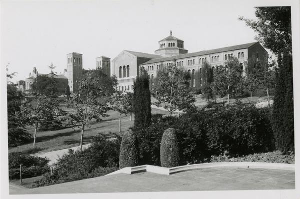 View of Powell Library from Kerckhoff Hall