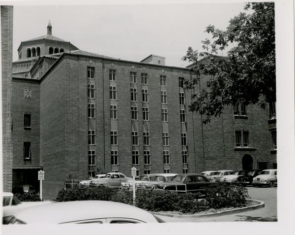 Exterior view of Powell Library and parking lot