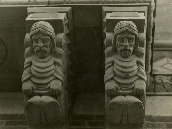 View of small statues outside of Powell Library, ca. 1929