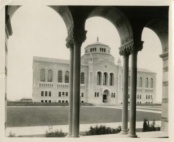 View of Powell Library through Royce Hall arches