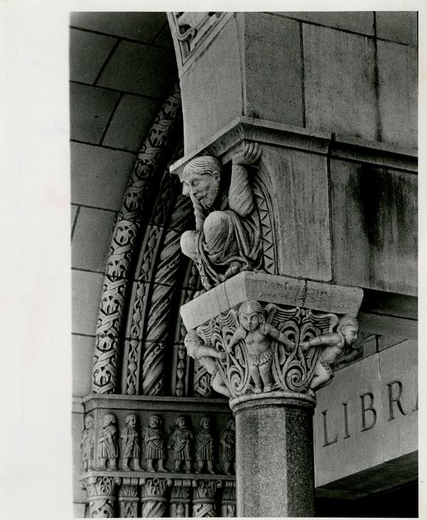 Architectural sculpture decoration of Powell Library entrance, ca. 1929