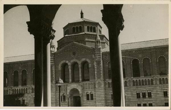 View of Powell Library through Royce Hall arches, ca. 1942