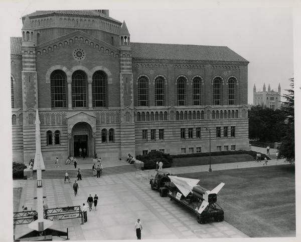 Nike Ajax missile in front of Powell Library