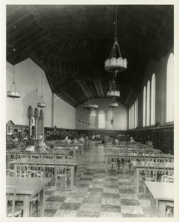 Students studying in Main Reading Room of Powell Library, ca. 1929
