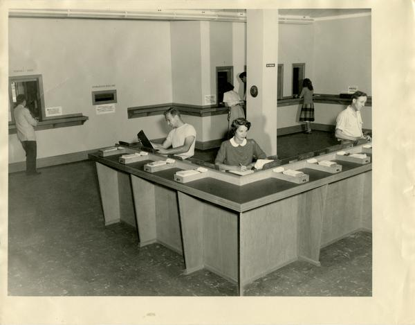 Students using the call desk