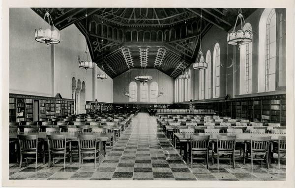 Interior view of Main Reference Room of Powell Library