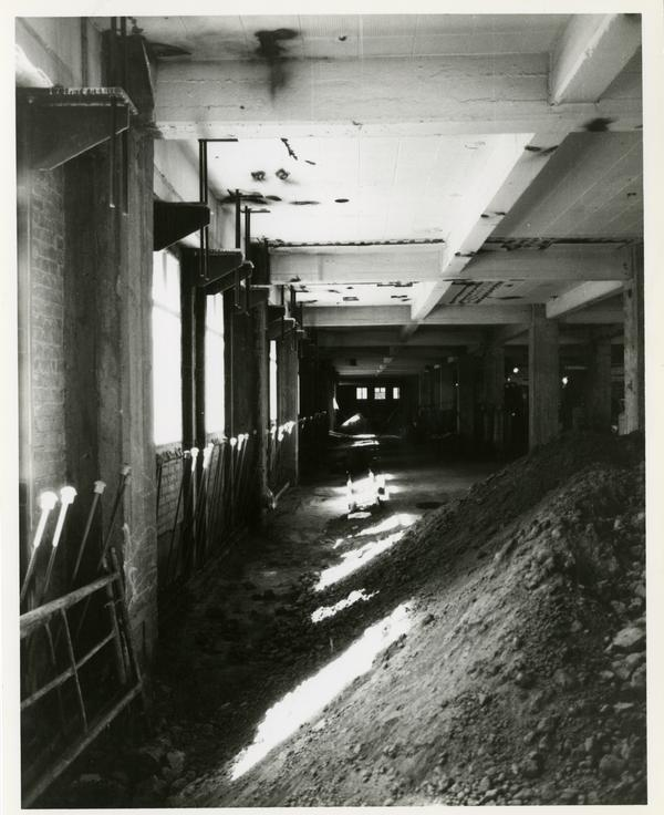 Interior of Powell Library during renovation