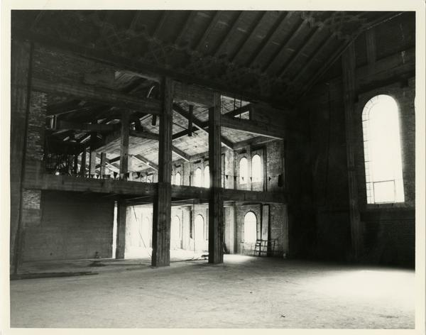 Interior of Powell Library during renovation, 1992