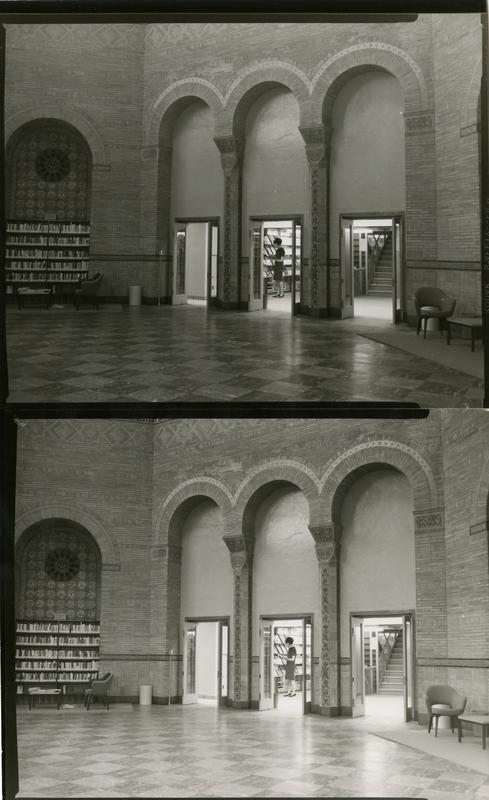 Contact sheet of Powell Library Stacks entrance