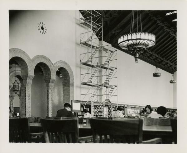 Students working in the reading room during renovations