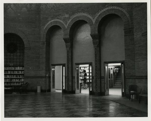 View of Powell Library Rotunda and stack entrance, 1968