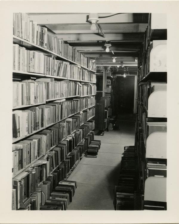 View of Powell Library Interior stacks