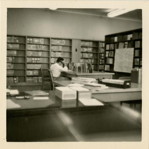 Student working in a Government Documents Room