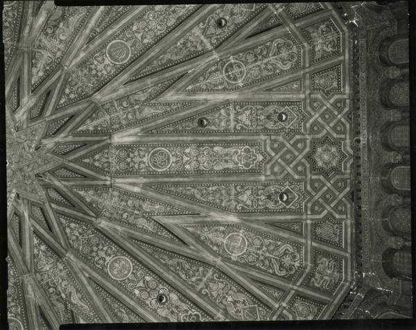 Ceiling artwork of Powell Library during renovation