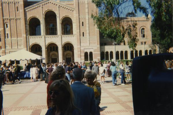Students gathered in front of Powell and Royce Hall for the reopening of Powell