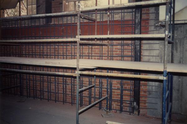 Interior wall during Powell Library renovation