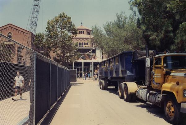 Front view of Powell during the renovation