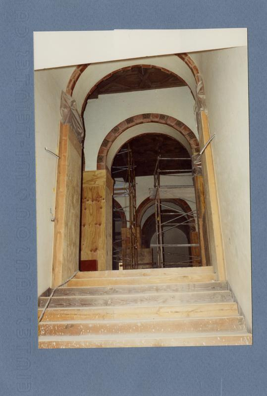 Stairs undergoing seismic renovation at Powell Library