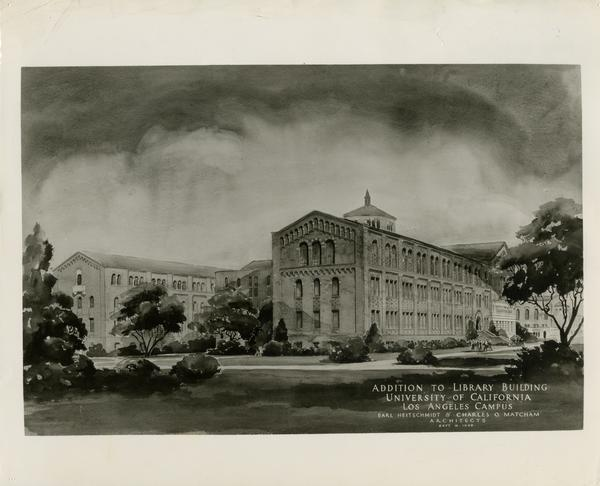 Drawing of the extension stack of the Powell Library