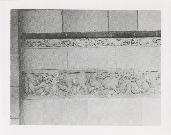 Exterior stone carvings of Powell Library