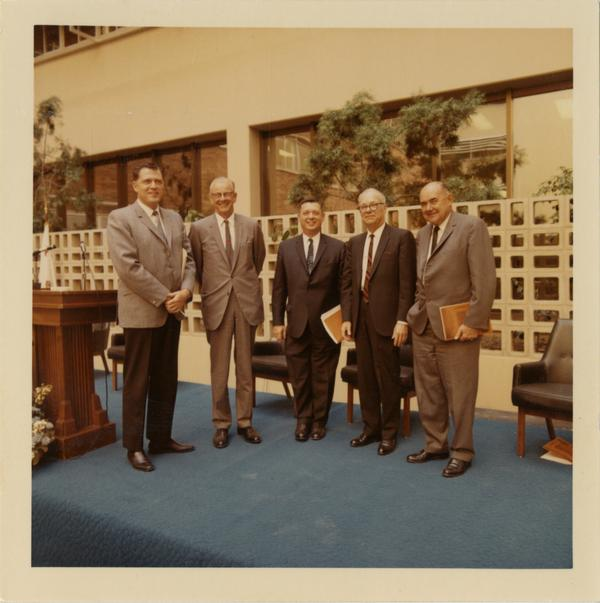 Dedication of School of Public Health building with Chancellor Charles Young, Kenneth Hahn, George James, L.S. George, Dean William Young, October 4, 1968