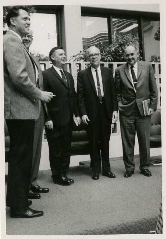 Dedication of School of Public Health building with Charles Young, Kenneth Hahn, George James, Dean Goeke, William Young, October 4, 1968