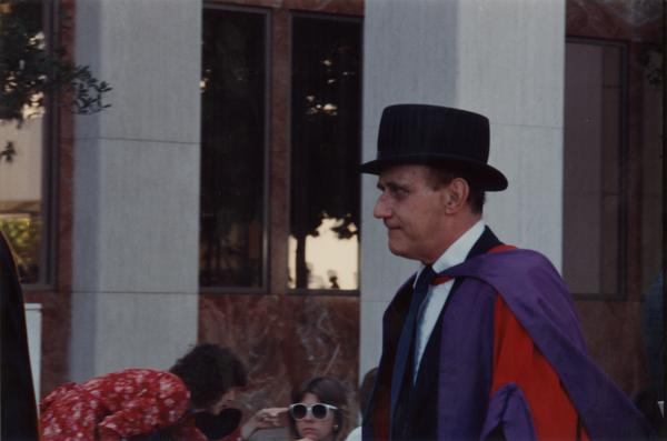 Dr. D. Jelliffe at the 1988 Commencement Ceremony