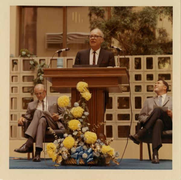 Dean Goerke speaking at dedication ceremony of the School of Public Health building, October 4, 1968