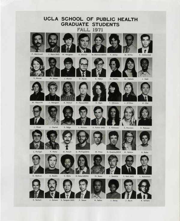 Portraits of School of Public Health graduate students, Fall 1971