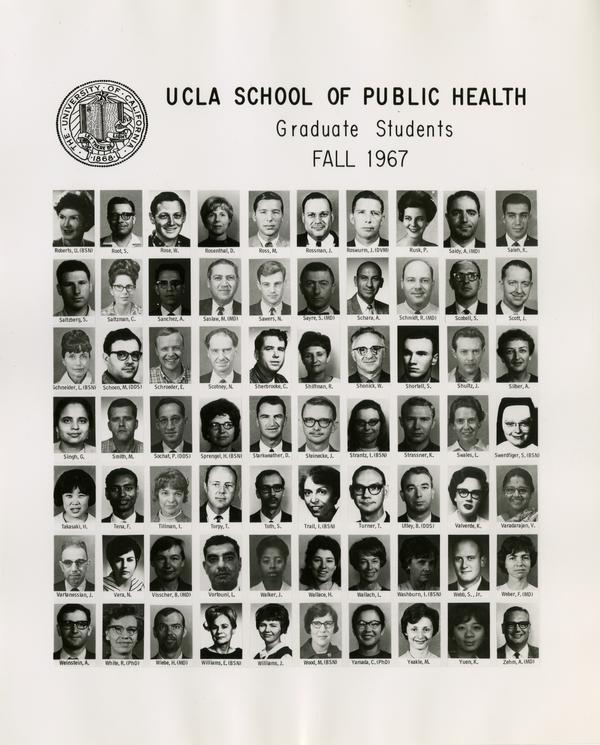 Portraits of School of Public Health graduate students, Fall 1967