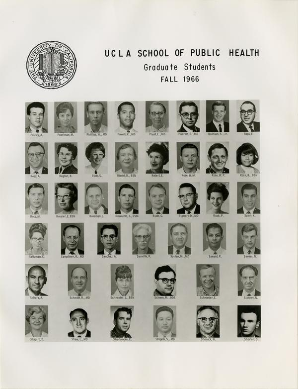 Portraits of School of Public Health graduate students, Fall 1966