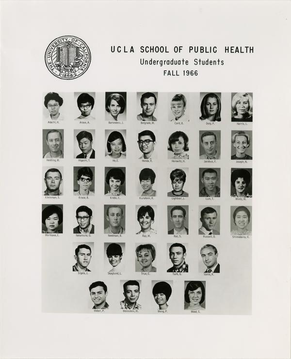 Portraits of School of Public Health undergraduate students, Fall 1966