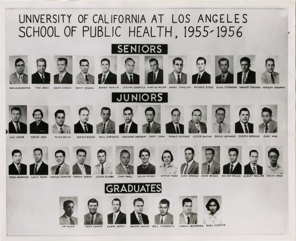 Portraits of School of Public Health undergraduate and graduate students, 1955-1956