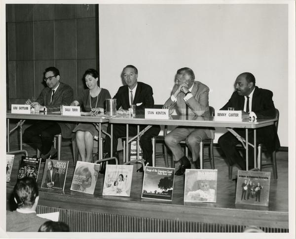 Recording Arts Panel with Lou Gottlieb, Salli Terri, Stan Kenton, Benny Carter, and Paul Tanner as the moderator, January 9, 1964