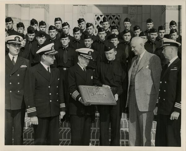 Captain William C. Barker of the UCLA Naval Unit with UCLA Provost Clarence A. Dykstra