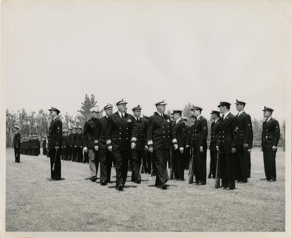 Captain L.C. Grannis professor of naval science and Rear Admiral Wilder D. Baker, USN, Commandant of the Eleventh Naval District, inspect UCLA's 200-man Naval ROTC unit, July 24, 1950