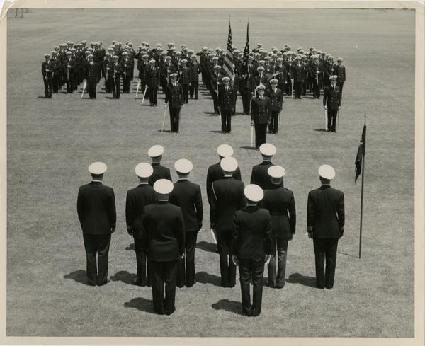 Presentation of the colors by UCLA's Naval ROTC unit at the traditional parade and review at the end of each semester, July 24, 1950