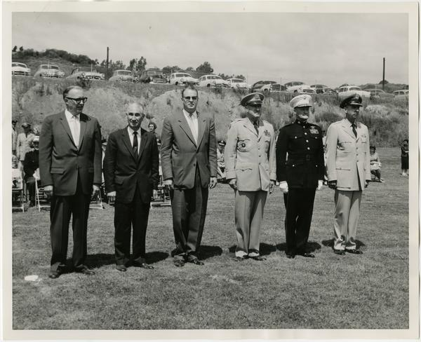 Reviewing Officers and dignitaries at the Annual Joint ROTC Review: Chancellor Raymond B. Allen, Dean David F. Jackey, Colonel Richard Lynch, Major General Ivan L. Foster, Major General T.G Ennis, and Brigadier General Robert L. Scott, May 2, 1957