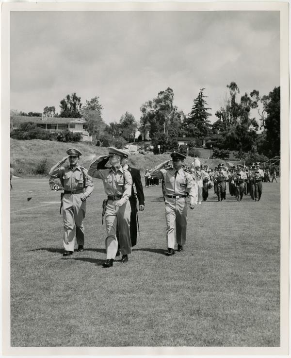 UCLA Unit Commanders passing in review during the Annual Joint ROTC, May 2, 1957
