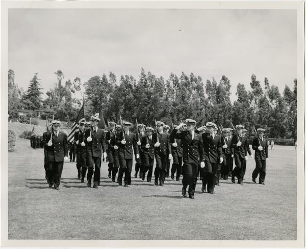 Navy Unit of the UCLA ROTC, passing in review during the Annual Joint ROTC Review, May 2, 1957