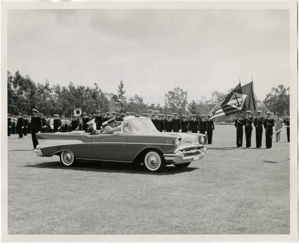Major General Ivan L. Foster, Major General J. G Ennis, and Brigadier General R. L. Scott inspecting troops at the Annual Joint Review of the UCLA ROTC, May 2, 1957